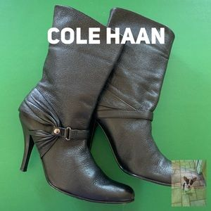 Cole Haan black leather mid boot size 5.5